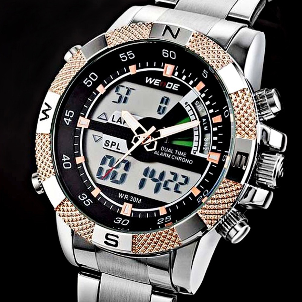 Best Selling WEIDE Men LED Quartz Sports Watch Luxury Brand Men's Watch Full Steel Double Japan Movt Dive 30m Relogio Masculino(China (Mainland))