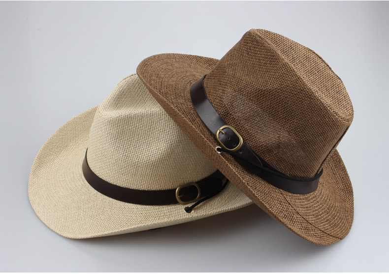 New 2015 Summer and Spring fashion Cowboy Hats for men and women hat straw outdoor caps sun hat (size :56-58CM)(China (Mainland))