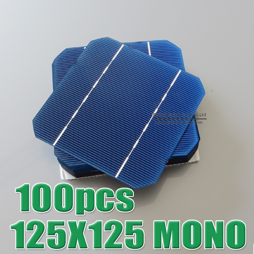 Hot Sale 100pcs 2.7W - 2.75W 17% - 17.2% efficiency 125 Mono monocrystalline Solar Cell 5x5 for Diy Solar Panels(China (Mainland))