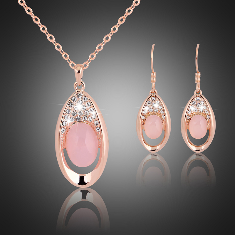 wedding cz crystal jewelry sets real opal 18k gold plated