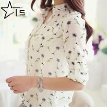 Tiny Star Women Long Sleeve Bird Printed Dot Chiffon 2 Styles Shirts Fashion Slim Blouses Shirts 2016 New Summer Blusas