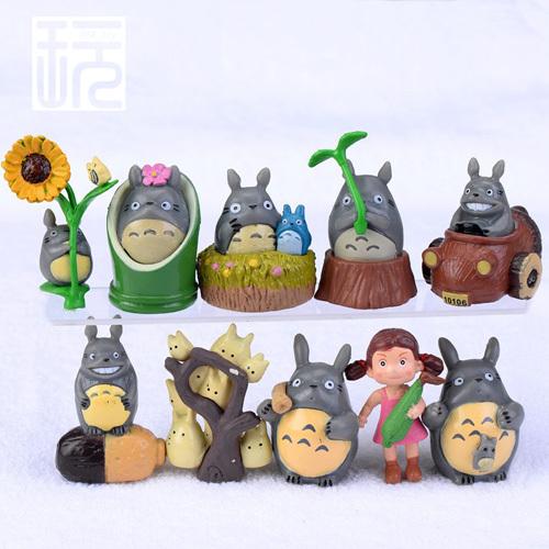 10 pcs/set micro landscape decoration Miyazaki Hayao cartoon Anime film My Neighbor Totoro model puppet action figures hot sale(China (Mainland))