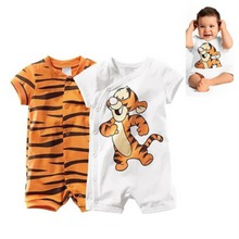 2015 New Baby Boys Cotton Rompers Clothes Cute Tiger Pattern Button-down Short Sleeve Bodysuit Children Baby Clothes Set #1JT