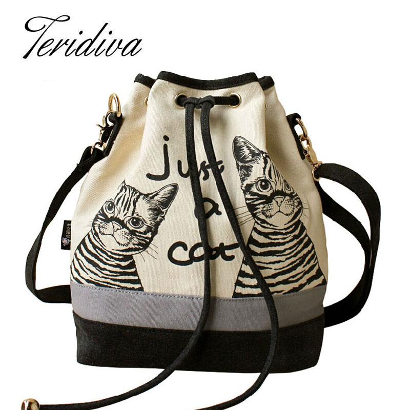 2016 Women Bags Spanish Canvas Bucket Bag Handbag Fashion Retro Canvas Women Shoulder Bag Vintage Print Cat Bags Female Bolso(China (Mainland))