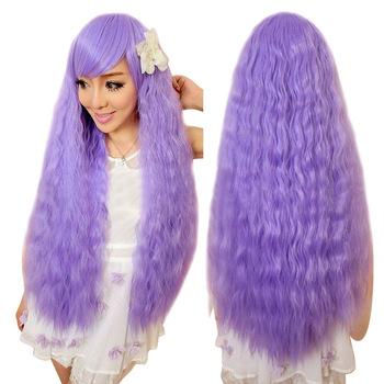 Девушки женщин Лапши быстрого приготовления Вьющиеся Волосы Парики Моды Косплей Парик Кукурузы Гладильная Пушистый Фиолетовый HB88