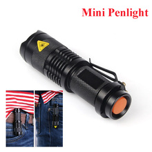 Free Shipping Hot Black CREE 2000lm Mini Black Brand Waterproof LED Flashlight 3 Modes Zoomable LED Torch penlight(China (Mainland))