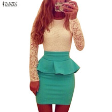 2016 New Style Long Sleeve Women Patchwork O Neck Bodycon Sexy Lace Party Peplum Flounce Bandage Pencil Dress Plus Size Vestidos