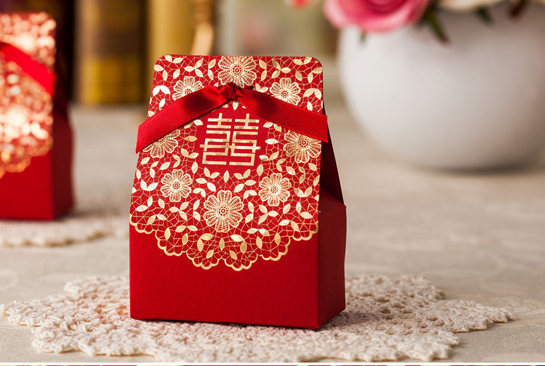50pcs/lot Floral And Double Happiness Decoration Chinese Red Wedding Favor Candy Boxes Classical Wedding Box With Ribbon(China (Mainland))