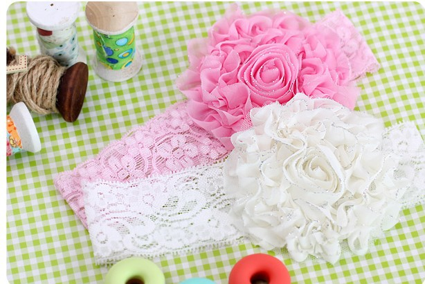 3 Colors Lovely Baby Princess Style Oversized Flower Bow Lace Headband Headwear Hair Wide Band Girl Infant Toddler A006(China (Mainland))