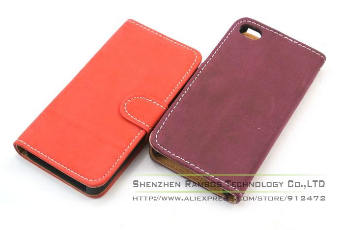 Luxury Wallet Leather Stand Case Cell Phone Flip Cover for iPhone 4 4s(China (Mainland))