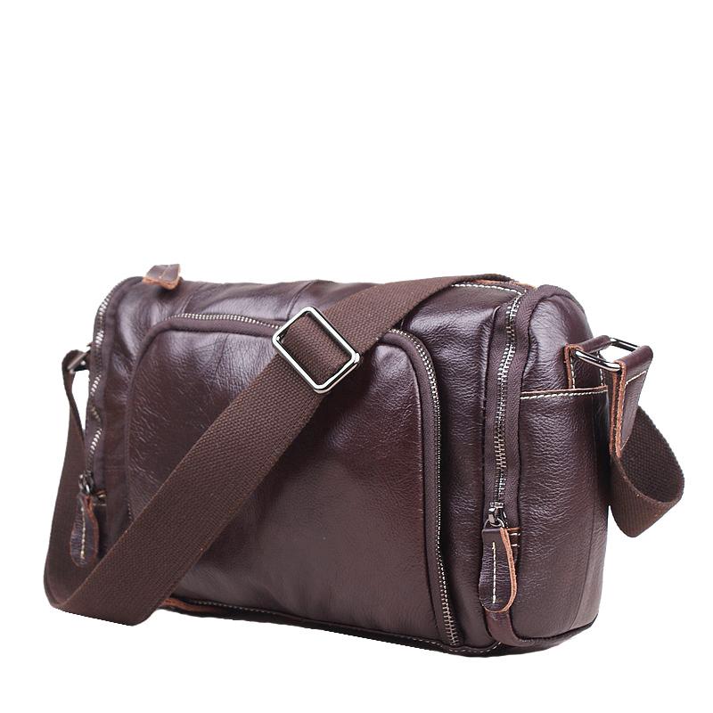 2016 men messenger bags 100% genuine leather bag Crazy horse leather Natural grain  handmade bag first layer cowhide bag