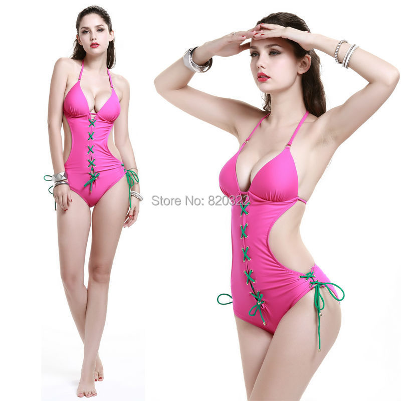 HOT!! NEW One Piece sexy lady S curve Deep V Push-Up bar Sexy Swimwear Bathing suit Orange White Green Pink Black Real photos(China (Mainland))