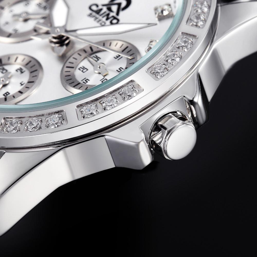 Люксовый Бренд CAINO 2016 Нержавеющей Стали Женские Часы Женщины Водонепроницаемый Кристалл Алмаза Кварцевые часы Часы Женщин
