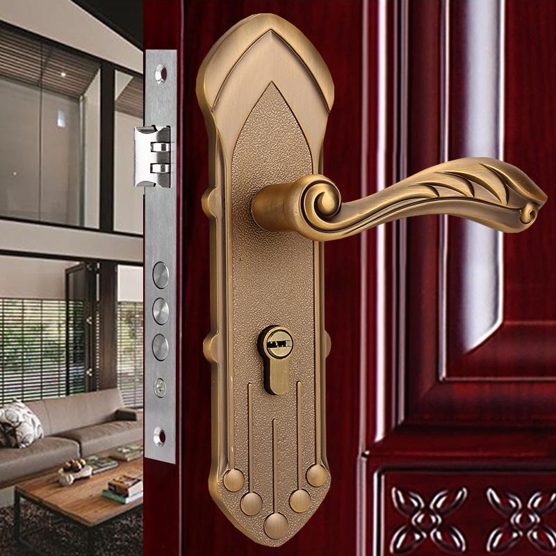 High Quality European Classical Lever Door Handles Interior Door Handle Lock Panel Key DIY Creative Home Decoration FreeShipping(China (Mainland))