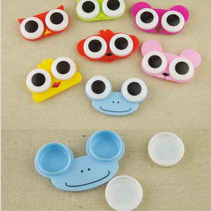 1PCS Sweet Cartoon 3D Big Eyes Contact Lenses Box & Case Owl Frog Animal Shape Contact lens Case Free Shipping(China (Mainland))