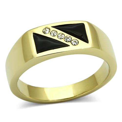 Love Accessories-New Arrival Men Ring IP Gold Plated Stainless Steel High Quality Triangle Black Epoxy Crystal Free Shipping(China (Mainland))