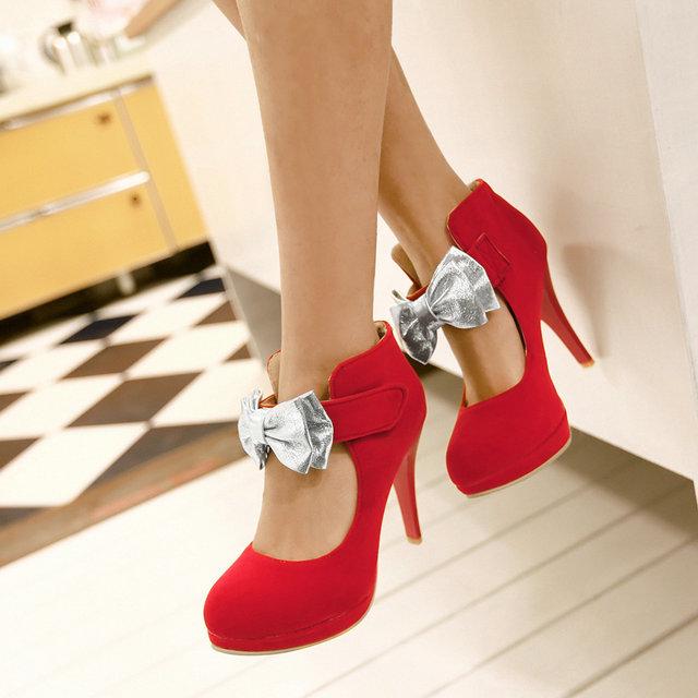2015 New high-heel women pumps Fashion ankle strap Platform Temperament bowtie ladies wedding shoes <br><br>Aliexpress