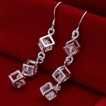 Hot Sale!!Free Shipping jewelry silver plated Earring,Fashion jewelry silver plated Jewelry White Stone Earrings SMTE206