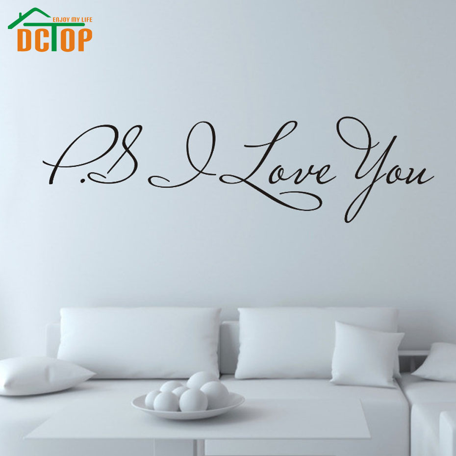 PS I Love You Wall Stickers Wall Decor Bedroom Wall Decals Vinyl Adhesive Stickers Decoration(China (Mainland))