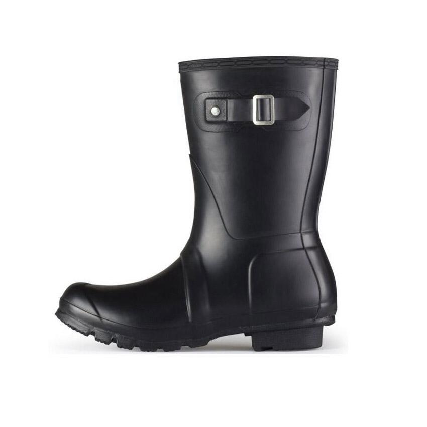 Fashion Middle H Brand Designer Women Rainboots Waterproof Rain Boots Autumn Winter Boots Women Shoes Botas Christmas Gift(China (Mainland))