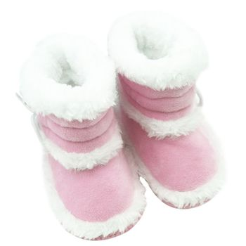 Winter Baby Girls Snow Boots Infant Solid Lace Up Shoes Prewalker Anti-slip Boots 0-18 Months