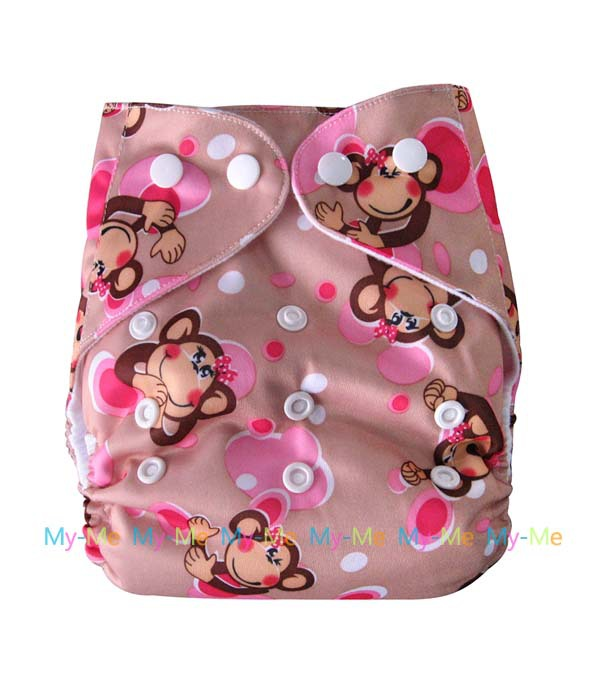 1 pc of Baby Infant Print Cloth Diaper Nappies Washable Adjustable Cover + 1pc of 3 Layer Inserts YB0010(China (Mainland))