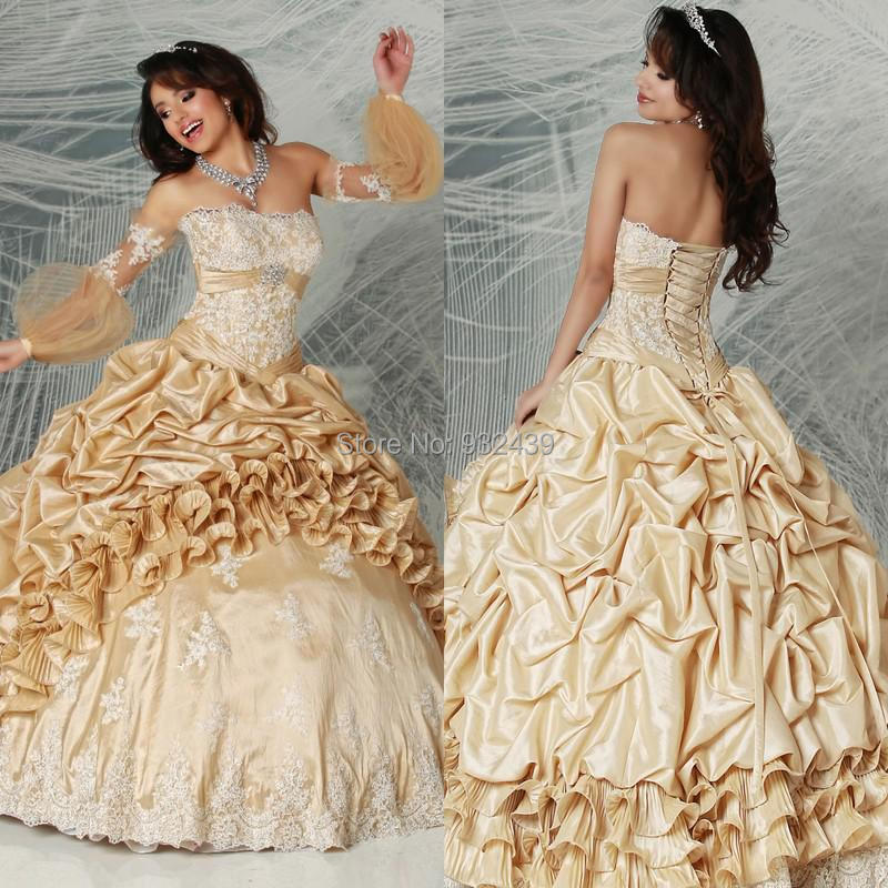 Buy ivory lace champagne taffeta pick up for Pick up skirt wedding dresses