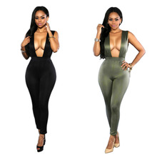 family matching outfits Siamese trousers High-grade summer jumpsuits solid casual zipper Siamese pants Split plus size Women