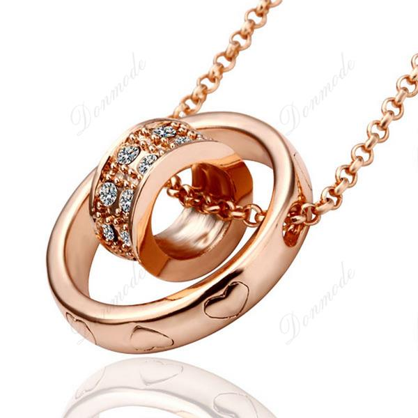 Free shipping Fashion jewlery Wholesale 18K Gold Plating Crystal Trendy Round Pendants Necklace Accessories N592