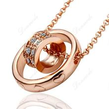 Free shipping Fashion jewlery Wholesale 18K Gold Plating Crystal Trendy Round Pendants Necklace  N592