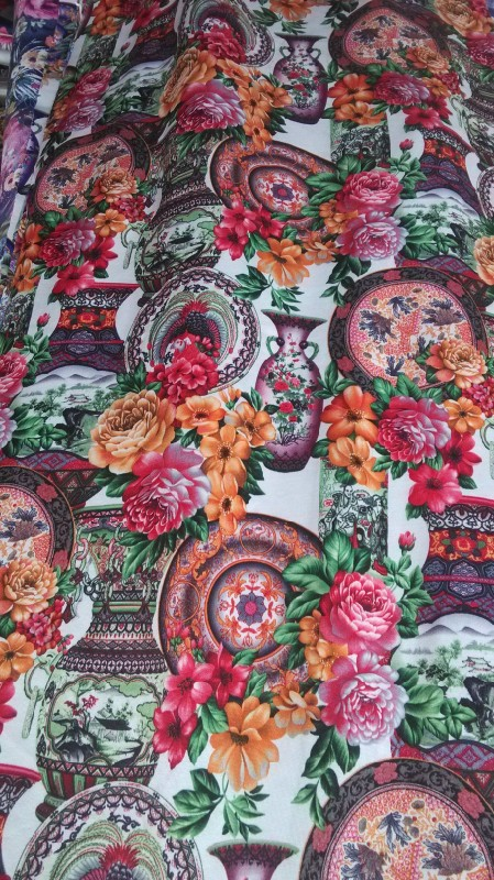 Free shipping 2014 fashion colorfully printed milk silk lycra jersey fabric,soft and tender touch, XERY N2805(China (Mainland))