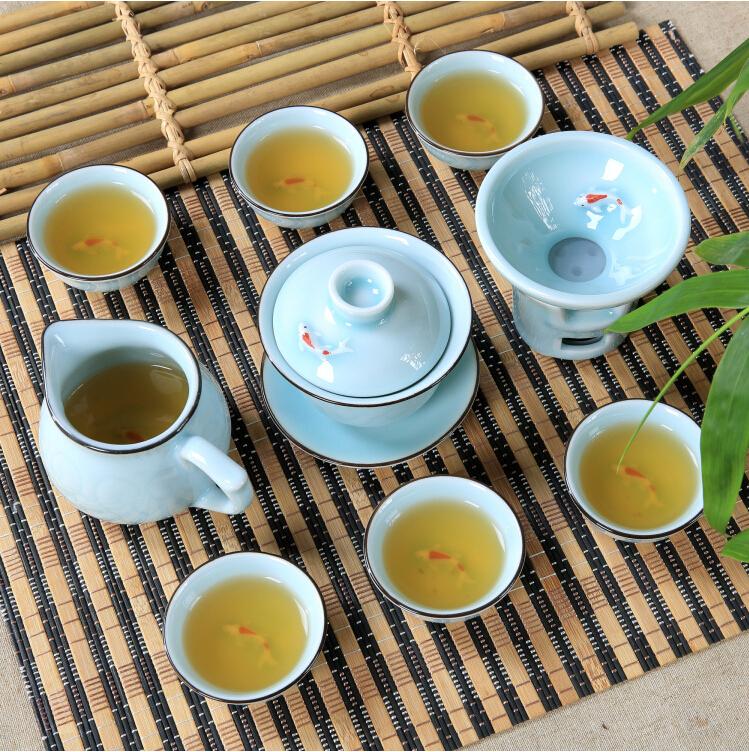 9 Pcs Kung Fu Tea Set Longquan Celadon Ceramics Teaset 1 Gaiwan+1 Fair Cup + 1 Filter + 6 Cups Exquisite Porcelain Teaset(China (Mainland))