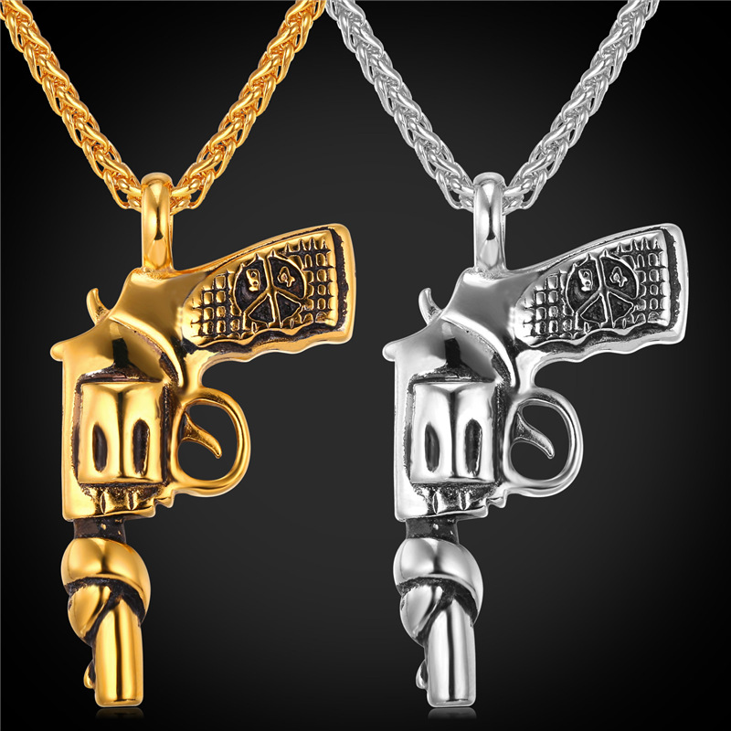 Firearm Gun Shape Pendant & Necklace American Style Jewelry Cool Stainless Steel/18K Real Gold Plated Chain For Men 2016 GP1810(China (Mainland))