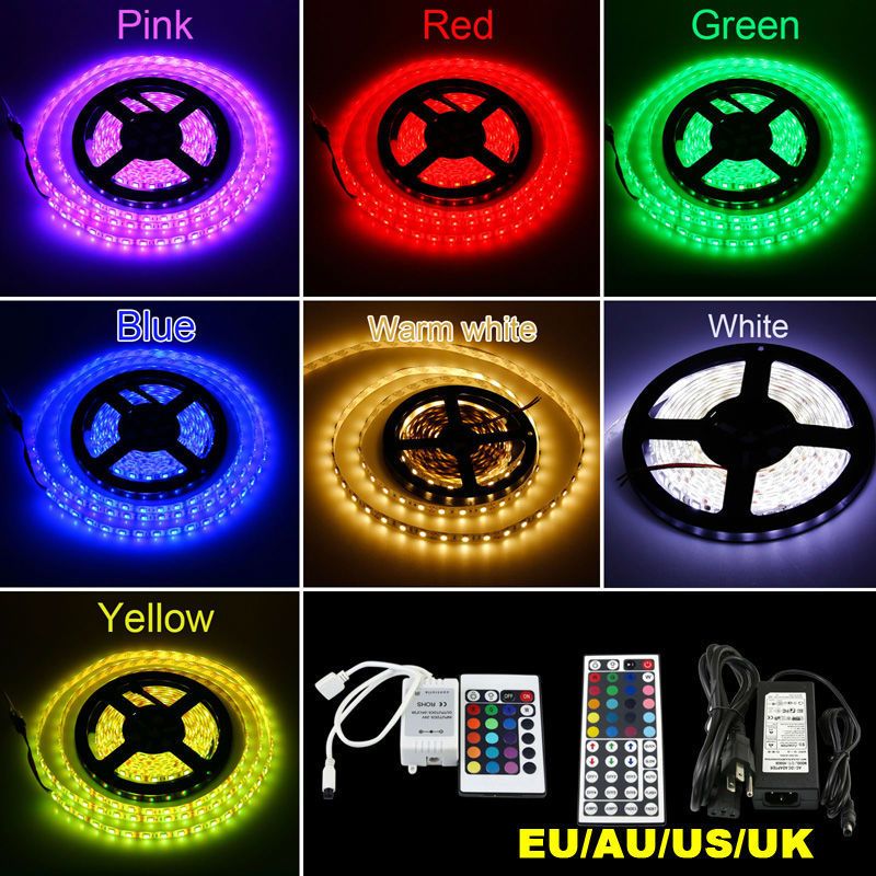 Multi color 5M 300led 5050 SMD LED Strip Light Rope RGB Changeable Ribbon Diode Tape+24/44key Remote Control+Power Adapter(China (Mainland))