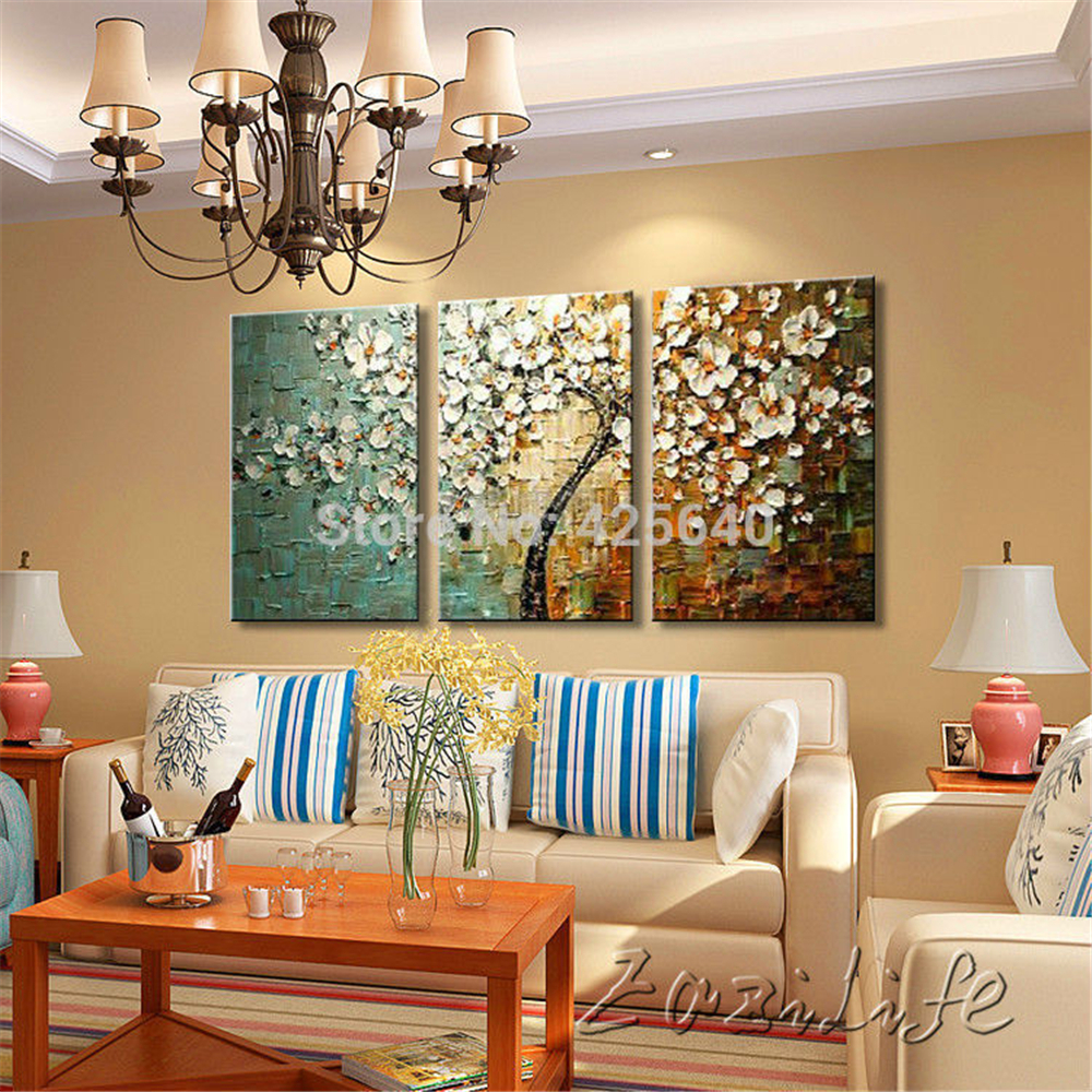 Buy 3 piece hand painted palette knife for Piece of living room decor