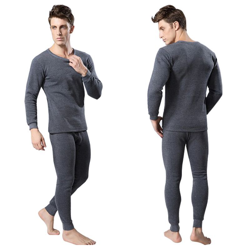 Men 2Pcs Cotton Thermal Underwear Set Winter Warm Thicken Long Johns Tops Bottom 3 Colors SH5Одежда и ак�е��уары<br><br><br>Aliexpress