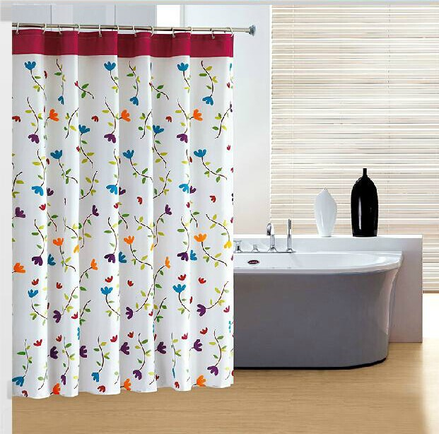 80*180cm Flower shower curtain waterproof polyester material thickening bath curtain 12hooks free(China (Mainland))