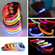LED Nylon Pet Dog Collar Night Safety LED Light-up Flashing Glow in the Dark Lighted Dog Collars Free shipping C10