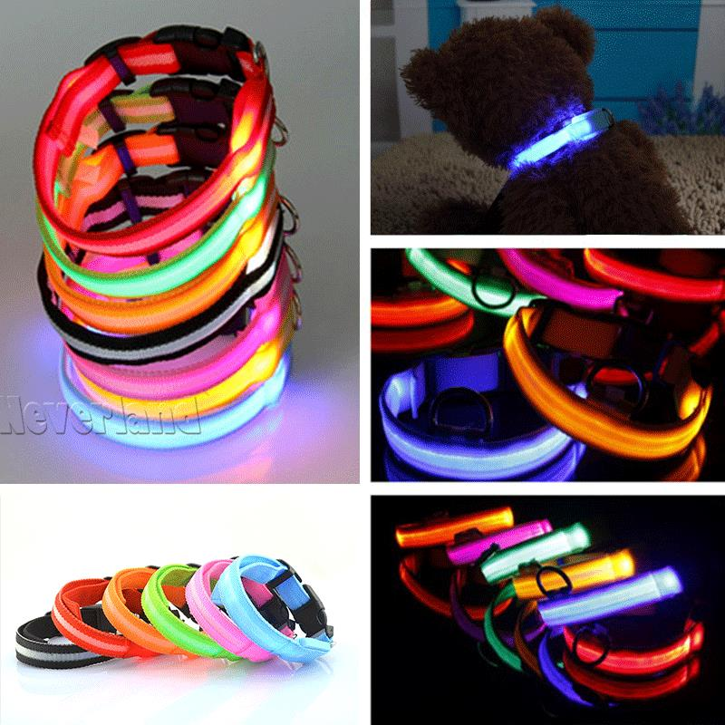LED Nylon Pet Dog Collar Night Safety LED Light-up Flashing Glow in the Dark Lighted Dog Collars Free shipping C05(China (Mainland))