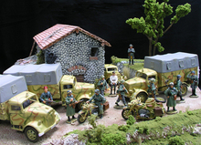 1:30 WWII German Opel personnel carriers, trucks motorcycles alloy construction village scene FM(China (Mainland))