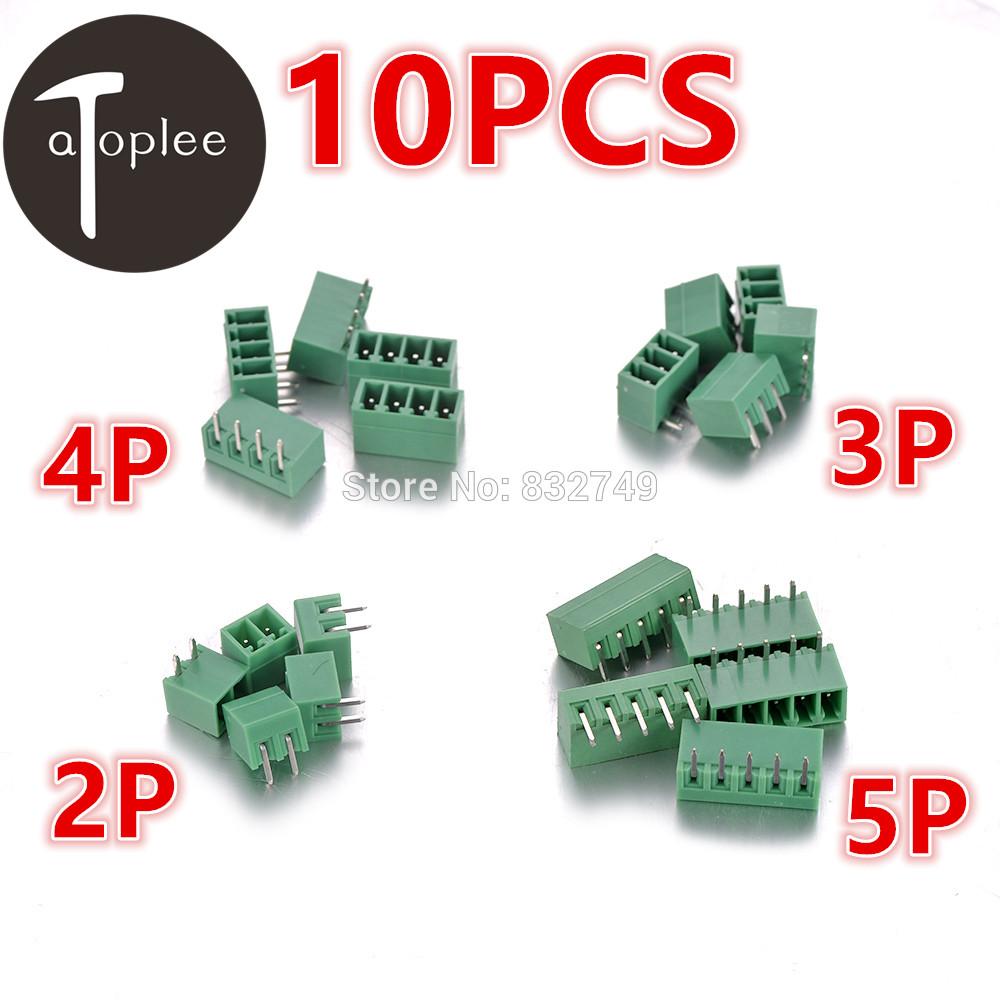 10 PCS 2P/3P/4P/5P 3.81MM 2EDG Plug-in PCB Curved-Needle Female Terminal Block Connector(China (Mainland))