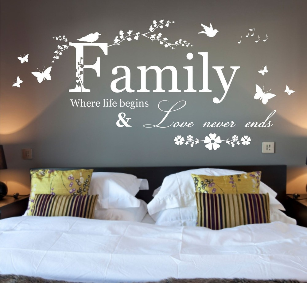 Vinyl Wall Art Quotes Family : Large family where life begins quote vinyl wall art