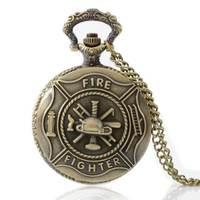 Bronzo vintage fire fighter controllo quarzo vintage orologio da tasca collana pendente uomini regalo p014
