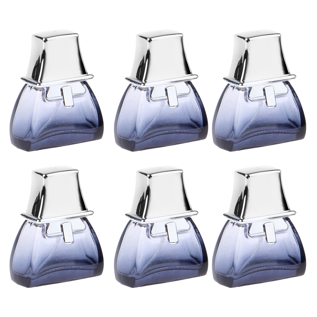 Gradient Blue Glass Atomizer Perfume Fragrance Pump Spray Bottles with Shiny Silver Fitting 20ml Capacity 6Pcs Vintage Style