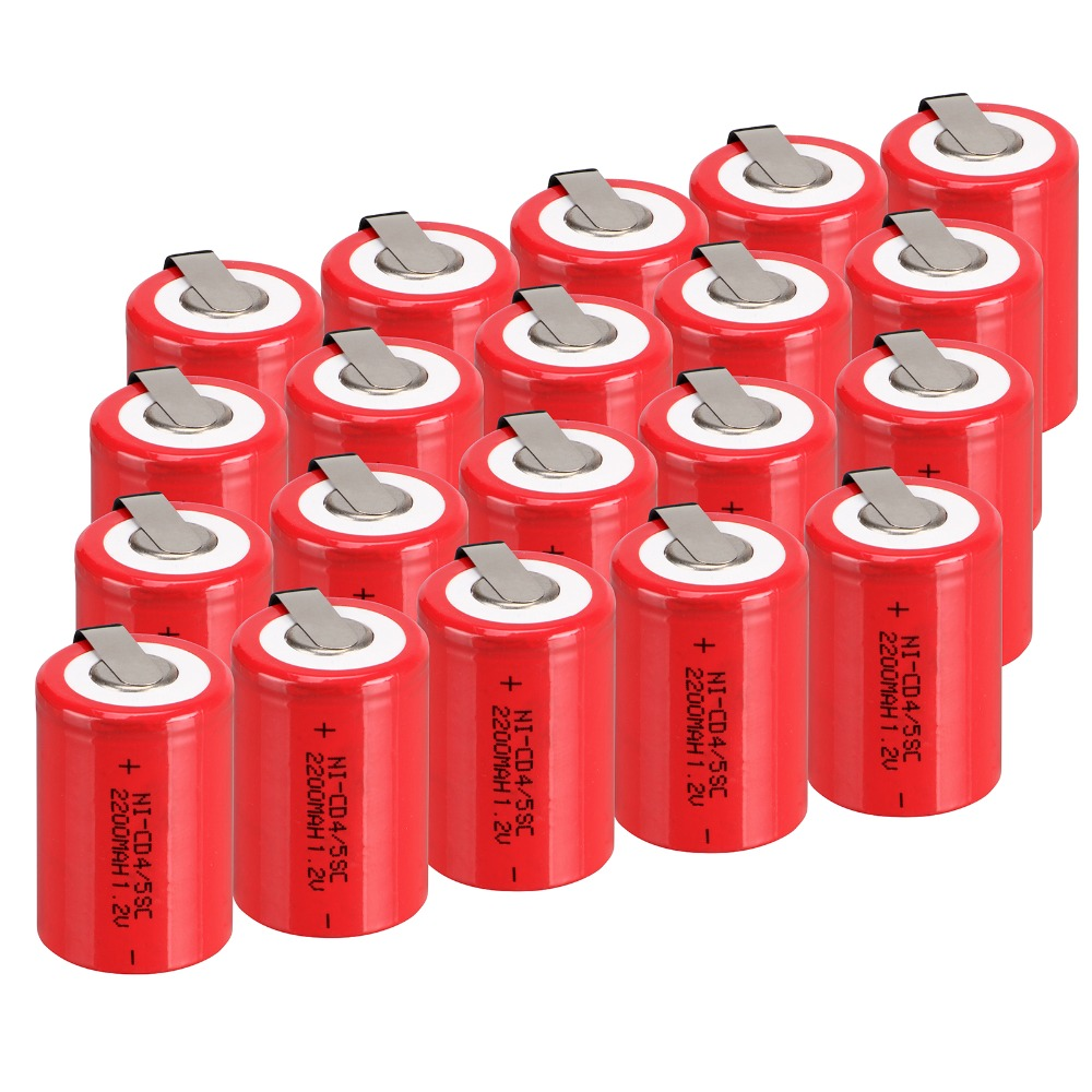 20 PCS Ni-Cd 4/5 SubC Sub C battery Rechargeable Battery 1.2V 2200mAh with Tab 3.3cm x 2.2cm(China (Mainland))