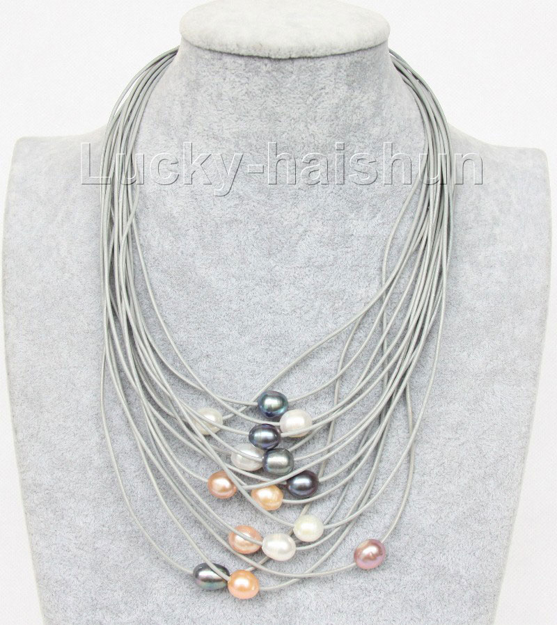 "17""-24"" 13mm 15row white pink black purple pearls gray leather necklace j9631(China (Mainland))"