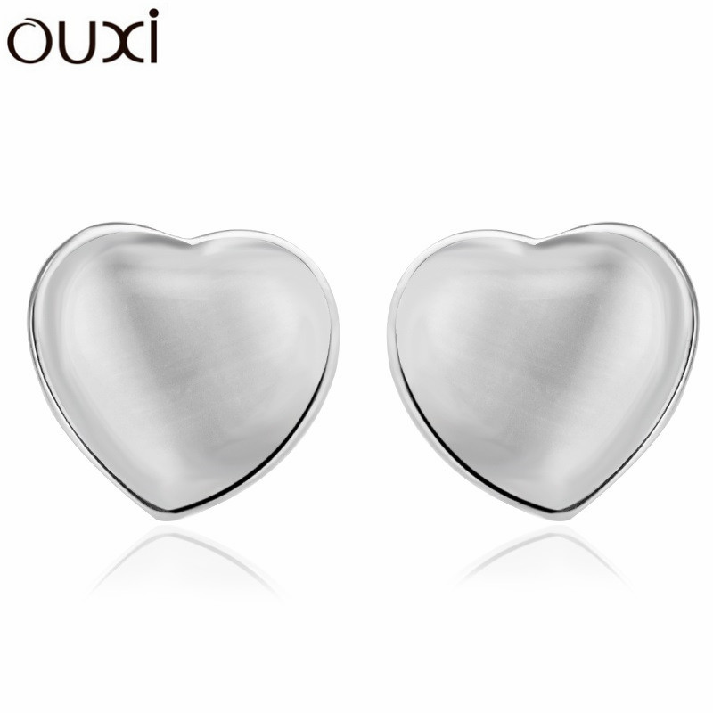 Best Quality Big Coupon Opal Earrings for Women Jewelry Heart Pendientes White Gold Plated Stud Earrings OUXI ERA083(China (Mainland))