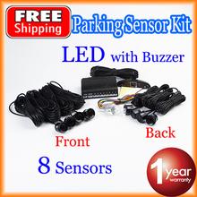 Car LED Parking Sensor Kit 8 Sensors 22mm Backlight Display Reverse Backup Radar Monitor System 12V Free Shipping(China (Mainland))