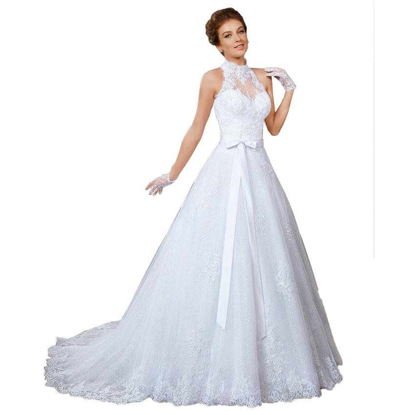 High neck crystal vintage lace wedding dresses 2015 for Wedding dress detachable skirt