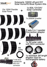 Solarparts off-grid Solar System KITS 1000W flexible solar panel 1pcs 60A controller 2KW inverter,2 sets 4 in1 MC4 adaptor cable(China (Mainland))